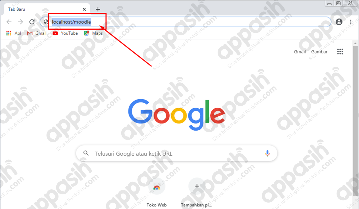 cara meginstal moodle di xampp - Mengakses moodle di browser