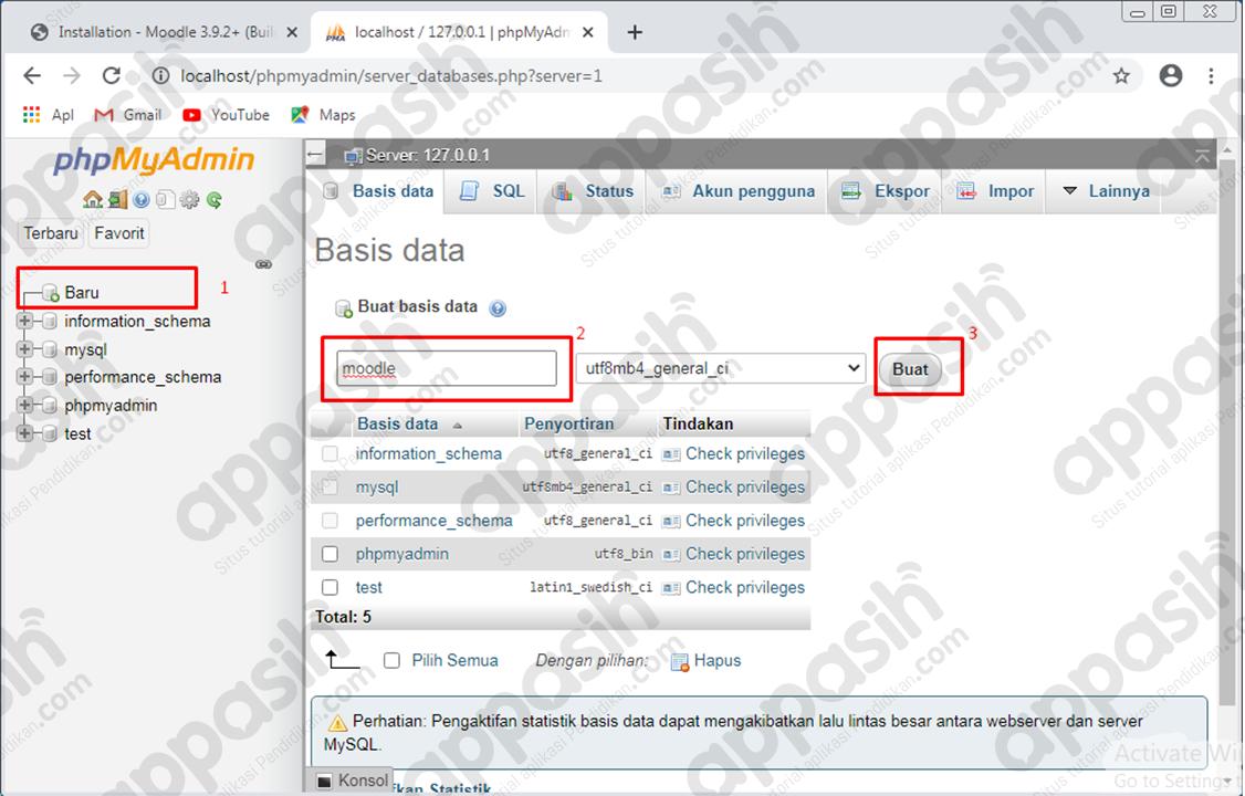 cara menginstal moodle di xampp - membuat database di phpmyadmin